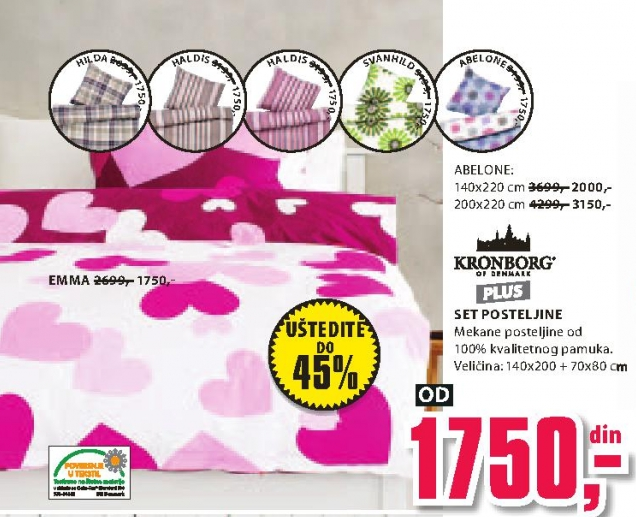 Set posteljine Abelone 200x220cm