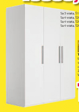 Ormar Tex, 4 vrata, bela, 200x220x62cm