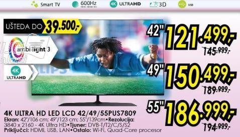 """Televizor LED 55"""" 3D 55pus7809"""
