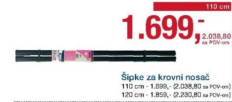 Šipke za krovni nosač 120cm