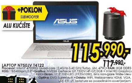 Laptop N750JV T4122 + poklon Subwoofer