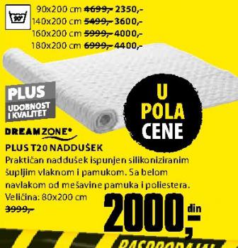 Naddušek, Plus T20 80x200 cm