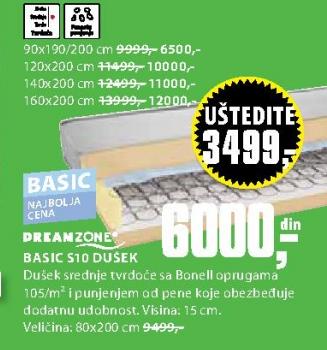Dušec Basic S10, 90x190/200cm