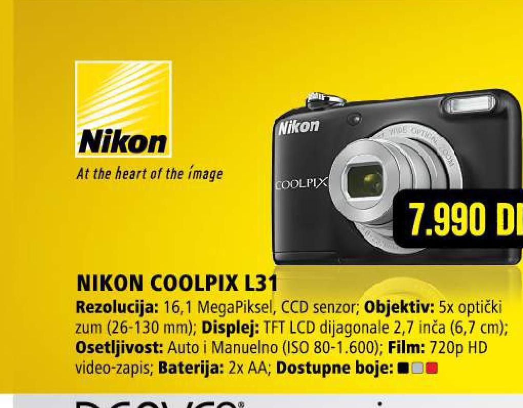 Digitalni fotoaparat Coolpix L31 SR