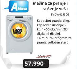 Mašina za pranje i sušenje veša EVOW4653DS