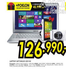 Laptop ATIV Book 7 NP730U3E-K01HS+Poklon: Samsung Galaxy Wi-Fi fotoaparat GC 110
