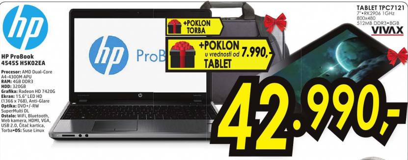 Laptop HP ProBook 4545s H5K02EA+Poklon Tablet TPC7121+Poklon torba