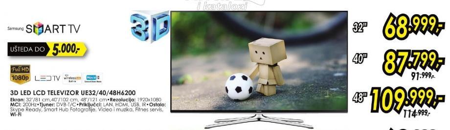 """Televizor LED 40"""" 3D Ue40h6200"""