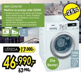 Mašina za pranje veša Wm12q461by iq500