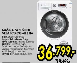Mašina za sušenje veša Tcd 838 6h Z Ha