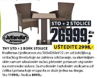 Baštenski sto Thy sa 2 Bork stolice Jutlandia