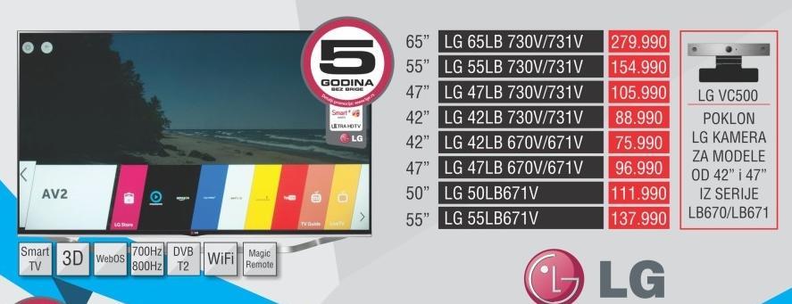 """Televizor LED 65"""" 3D 65lb730v/731v"""