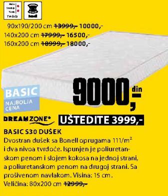 Dušek, Basic S30 160x200 cm