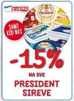 -15% na sve President sireve