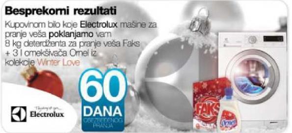 Kupovinom Elektriolux mašine na poklon 8kg deterdženta i 3l omekšivača