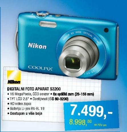 Fotoaparat Coolpix S3200