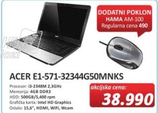 Laptop E1-571-32344G50MNKS