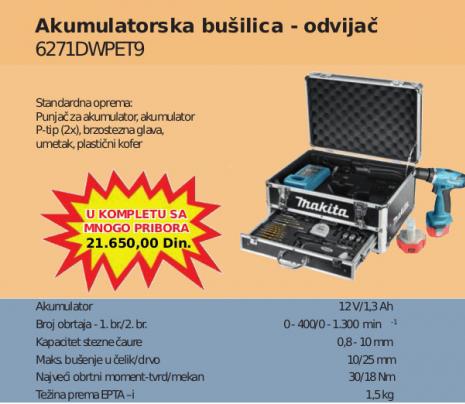 Akumulatorska bušilica odvijač 6271DWPET9 u koferu, Makita
