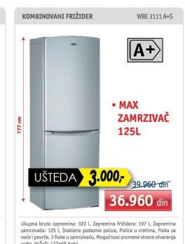 Kombinovani Frižider Wbe 3111 A+S