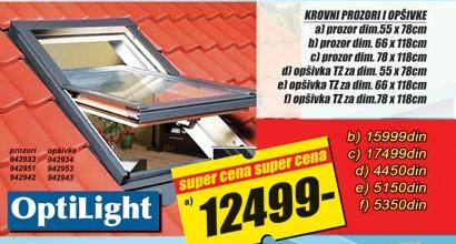 Krovni prozor OptiLight 66x118