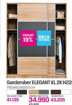 Garderober Elegant KL2K H225, bela/surf crna