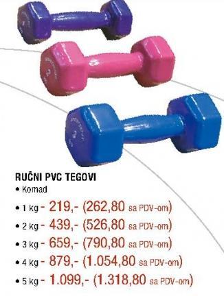 Ručni PVC teg 5 kg