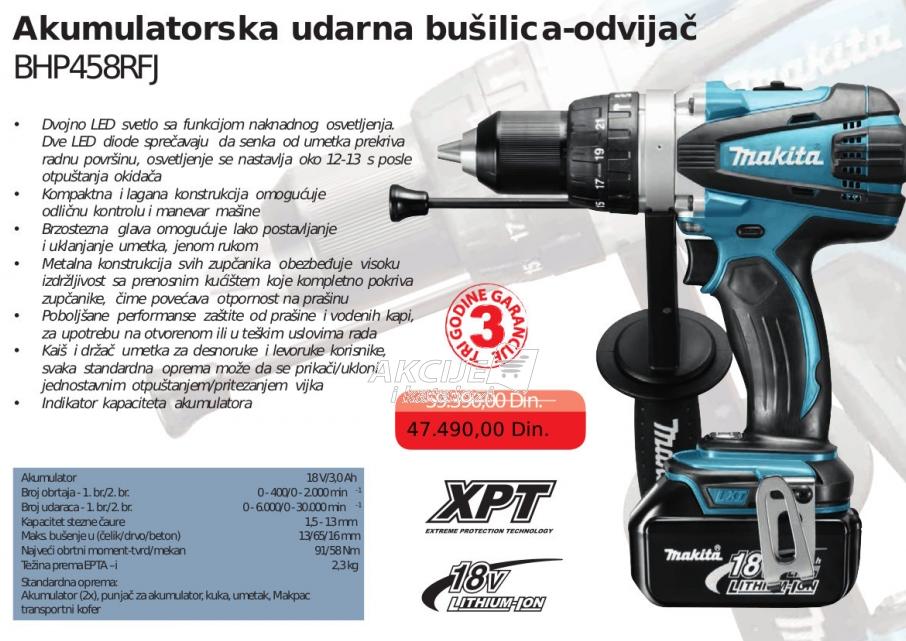 Akumulatorska udarna bušilica odvijač BHP458RF, Makita