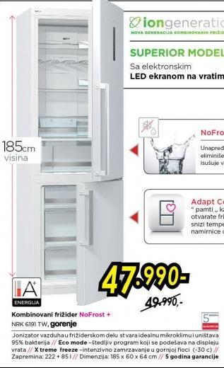 Kombinovani frižider Nrk 6191 tw