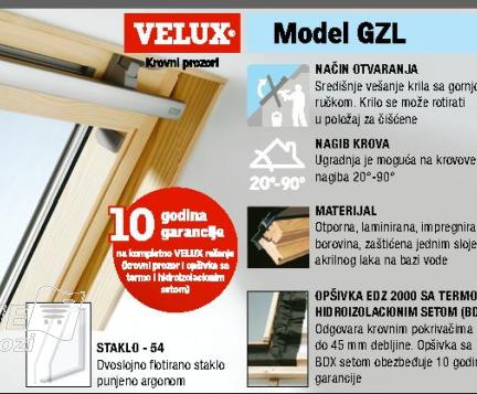 Krovni prozor GZL CO2, VELUX