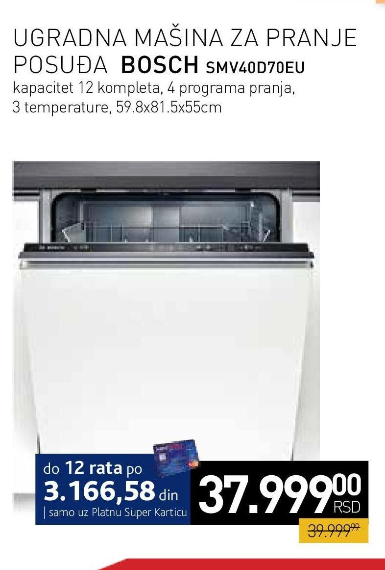 Mašina za pranje posuđa Smv40d70eu