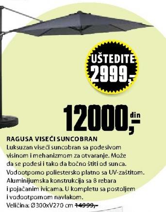 Viseći suncobran RAGUSA Ø300cm alu.