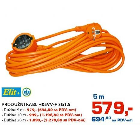 Produžni kabl 5m H05vv-f3g1.5