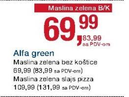 Maslina zelena pizza slajs