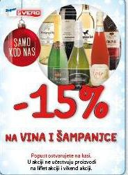 - 15% na vina i šampanjce