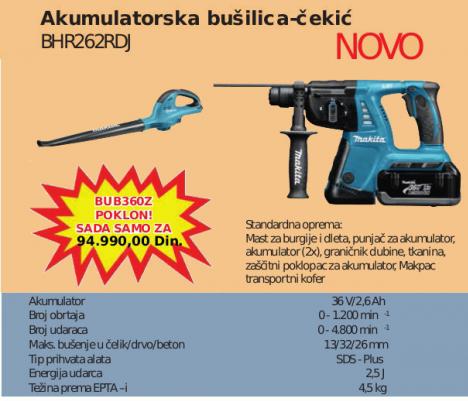 Akumulatorska bušilica-čekić BHR262RDJ, MAKITa