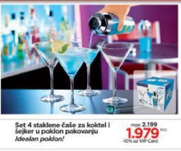 Čaše za koktel i šejker set