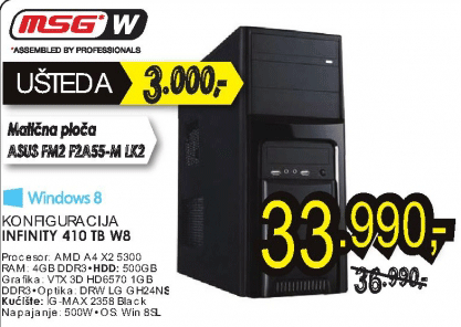 Konfiguracija INFINITY 410 TB W8