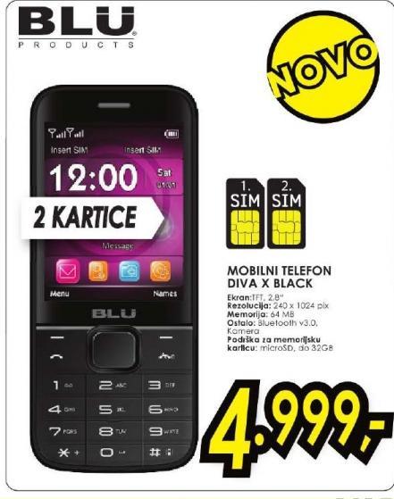 Mobilni Telefon DIVA X Black