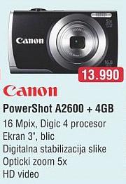 Digitalni Fotoaparat Powershot A2600 + 4GB
