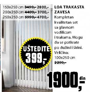 Trakasta zavesa LOA 200x250cm