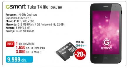 Mobilni telefon Gsmart Tuku T4 Lite