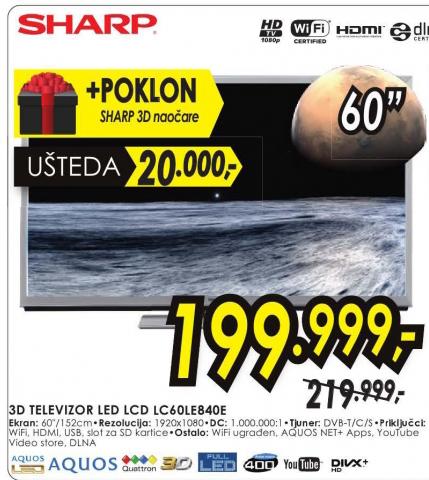 Televizor  3D LED SMART LC60LE840E