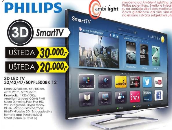 Televizor 3D LED 50PFL5008K 12