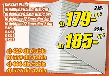 Gipsane ploče 12,5mmx2,6m