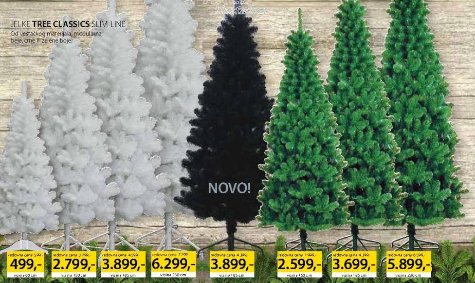 Jelka Tree Classic Slim Line Bela 185cm