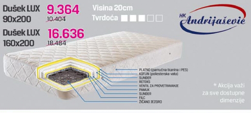 Dušek Lux 160x200 cm - Andrijašević