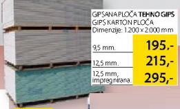 Gipsana ploča Tehnogips, 9,5mm