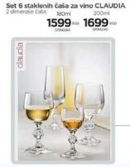 Set čaša za vino Claudia 180ml