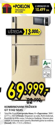 Kombinovani frižider LG GT-5142SEAS + Mikrotalasna rerna MS2342BS