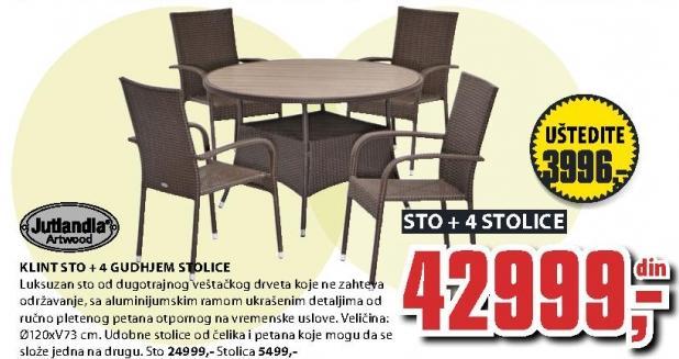 Baštenski sto Klint i 4 stolice Gudhjem Jutlandia